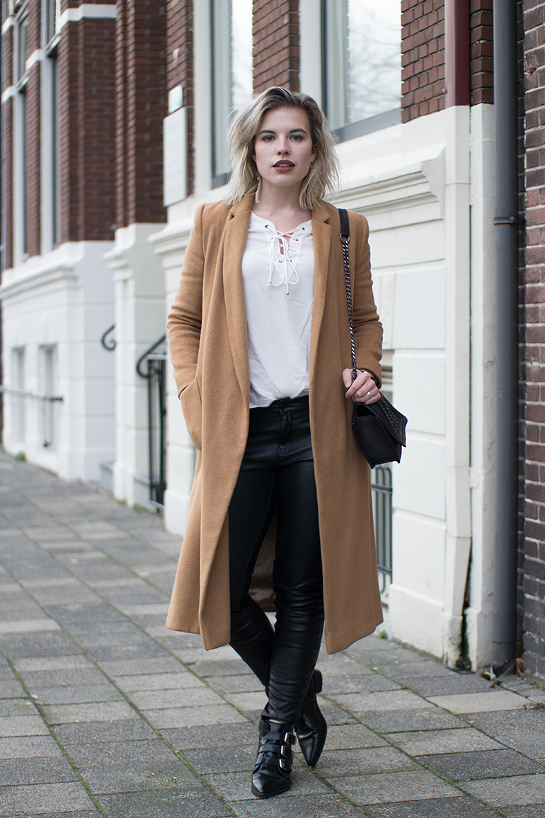 RED REIDING HOOD: Fashion blogger wearing long topshop camel coat lace up blouse only leather pants outfit
