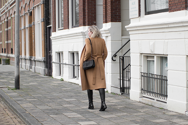RED REIDING HOOD: Fashion blogger wearing long topshop coat faux leather pants outfit supertrash ankle boots