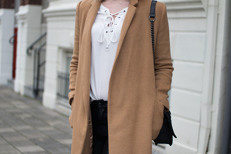 RED REIDING HOOD: Fashion blogger wearing white lace up top ONLY outfit details long camel coat