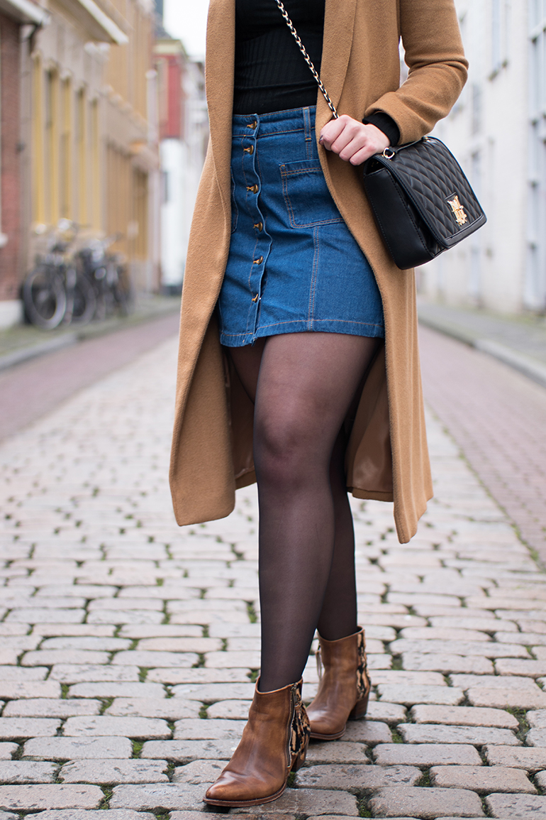 RED REIDING HOOD: Fashion blogger wearing button up denim skirt outfit details topshop camel coat designer bag love moschino sendra boots