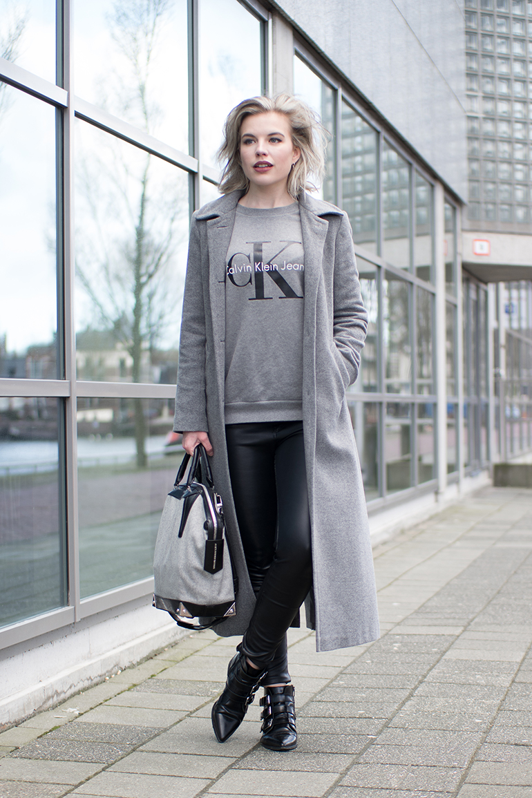 RED REIDING HOOD: Calvin Klein sweater CK jeans long coat outfit leather pants alexander wang emile tote bag