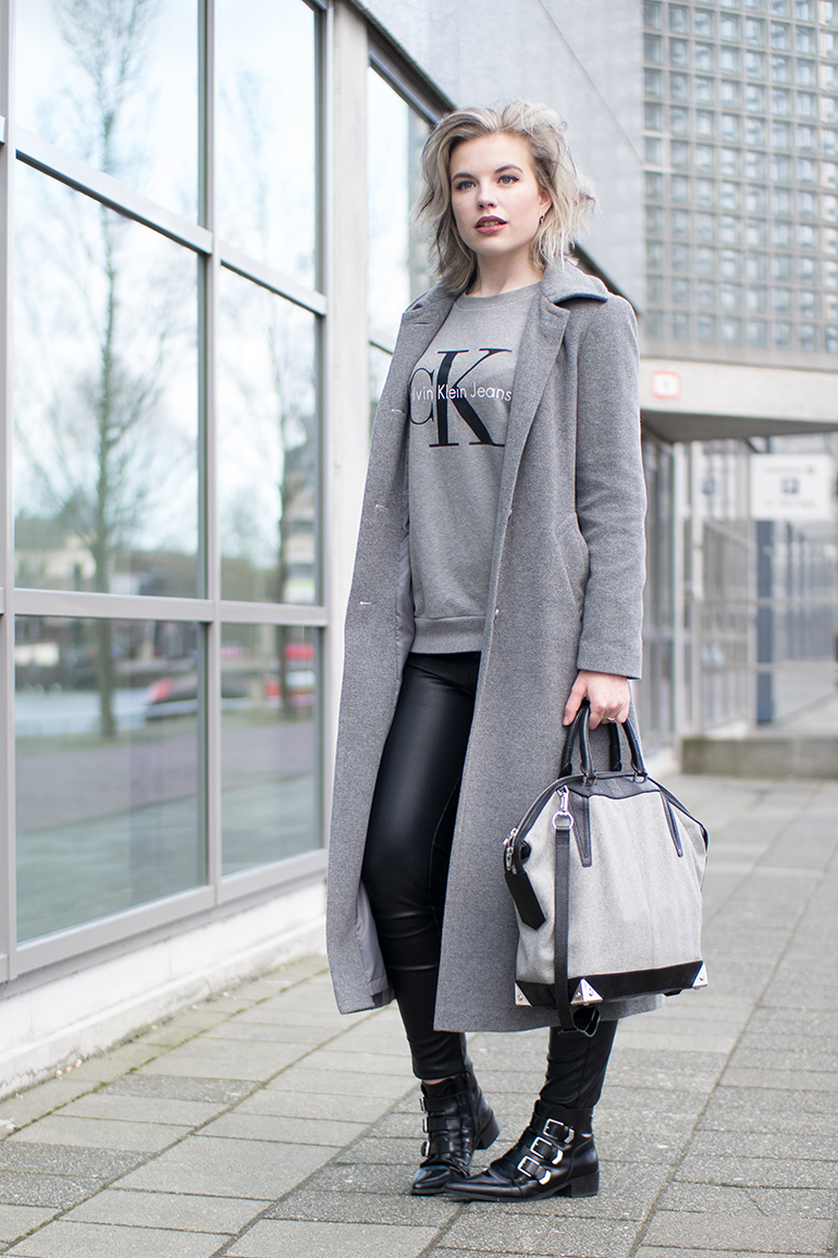 RED REIDING HOOD: Fashion blogger wearing black faux leather pants Vero Moda long coat outfit CK jeans sweater Alexander Wang bag
