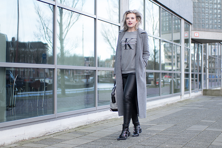 RED REIDING HOOD: Fashion blogger wearing leather pants long grey coat outfit CK jeans sweater supertrash ankle boots