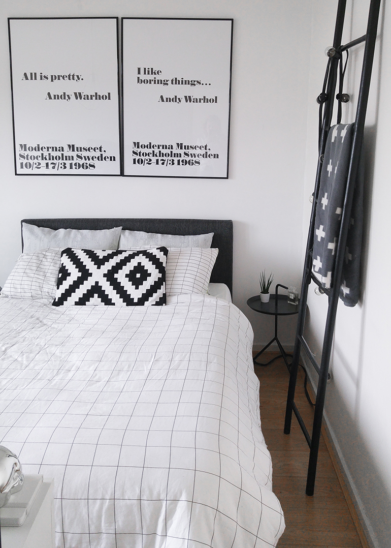 RED REIDING HOOD: Interior blogger bedroom Andy Warhol Moderna Museet quote poster All is pretty I like boring things grid check sheets