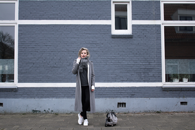RED REIDING HOOD: Fashion blogger wearing sports luxe outfit Adidas Stan Smith sneakers long coat