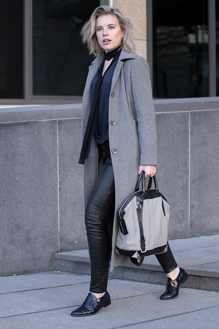 RED REIDING HOOD: Fashion blogger wearing skinny scarf black leather pants alexander wang bag outfit long coat