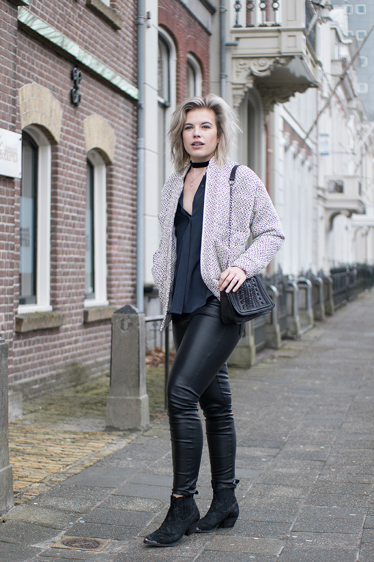 RED REIDING HOOD: Fashion blogger wearing faux leather pants Vero Moda Carin Wester Reva bomber jacket & Other Stories silk shirt outfit