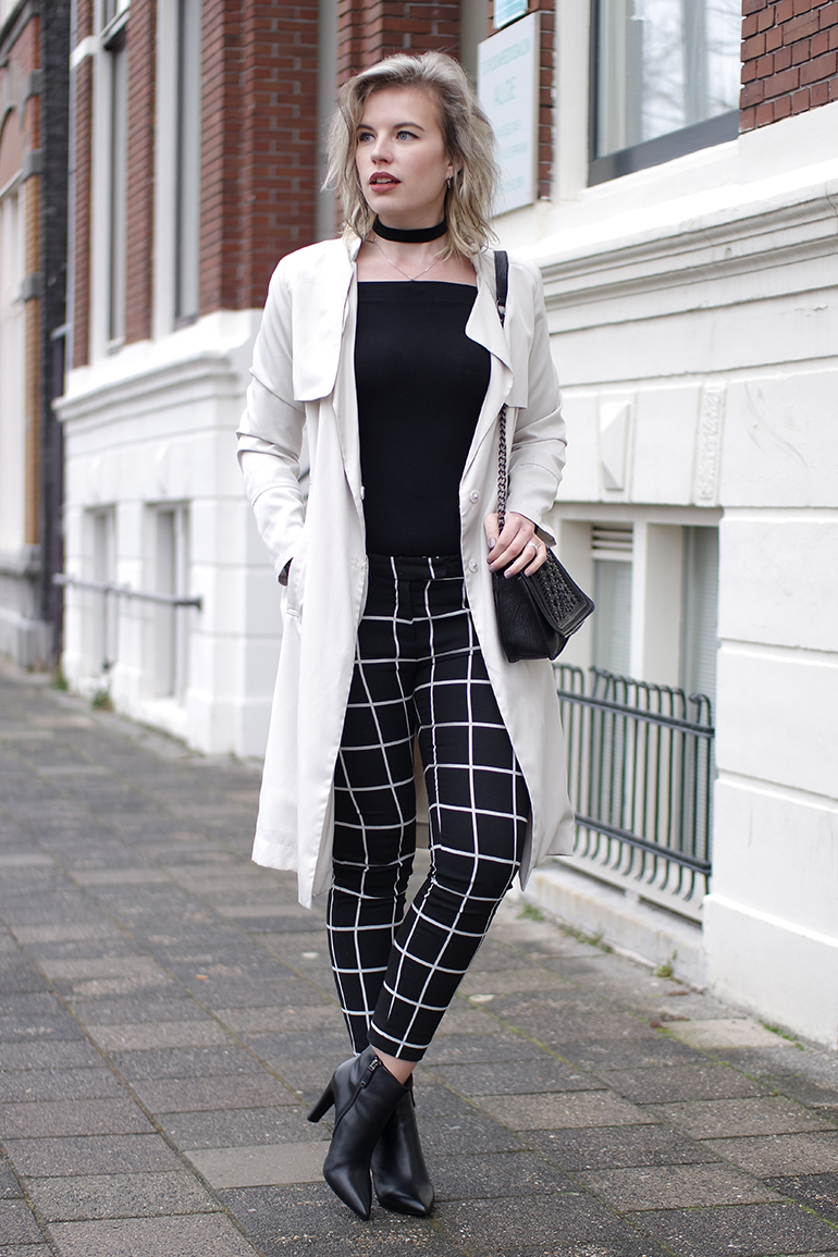 RED REIDING HOOD: Fashion blogger wearing grid check pants costes outfit beige trench off shoulder top