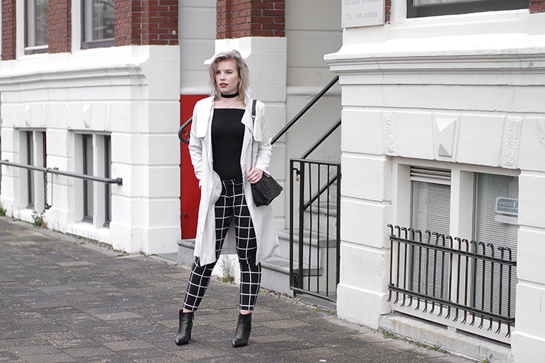 RED REIDING HOOD: Fashion blogger wearing beige trench coat H&M grid check pants costes outfit off-shoulder top