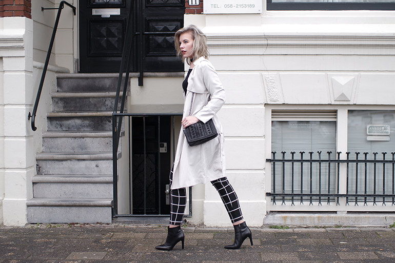 RED REIDING HOOD: Fashion blogger wearing grid check trousers outfit beige trench coat