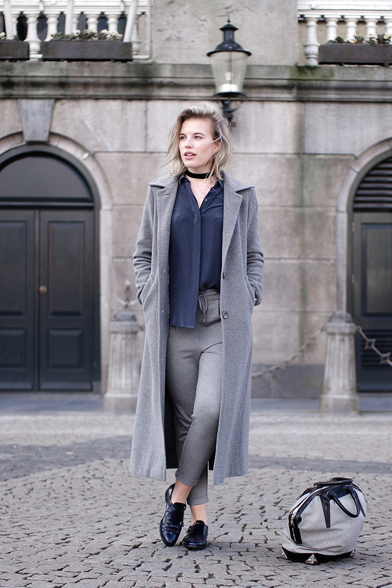 RED REIDING HOOD: Fashion blogger wearing long grey coat blue silk shirt & Other stories only sweat pants outfit