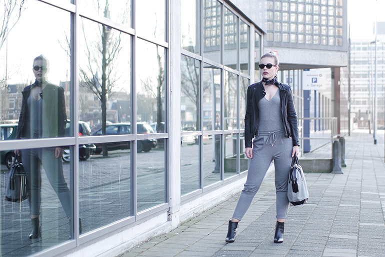 RED REIDING HOOD: Fashion blogger wearing suit jogger pants outfit leather jacket H&M v-neck rib bodysuit
