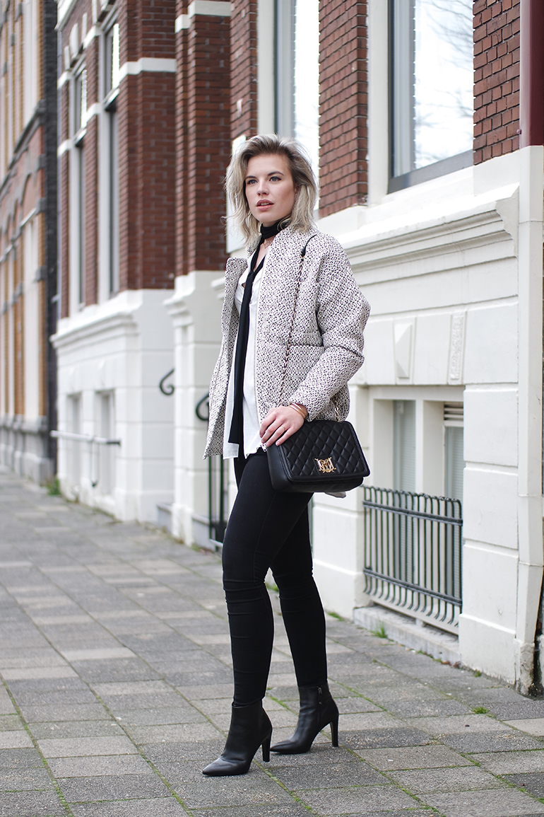 RED REIDING HOOD: Fashion blogger wearing carin wester reva jacket outfit moschino designer bag