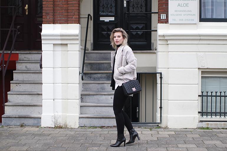RED REIDING HOOD: Fashion blogger wearing carin wester reva bomber jacket moschino designer bag