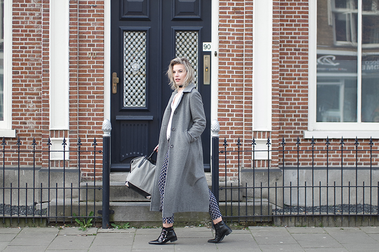 RED REIDING HOOD: Fashion blogger wearing long grey coat outfit supertrash ankle boots alexander wang bag