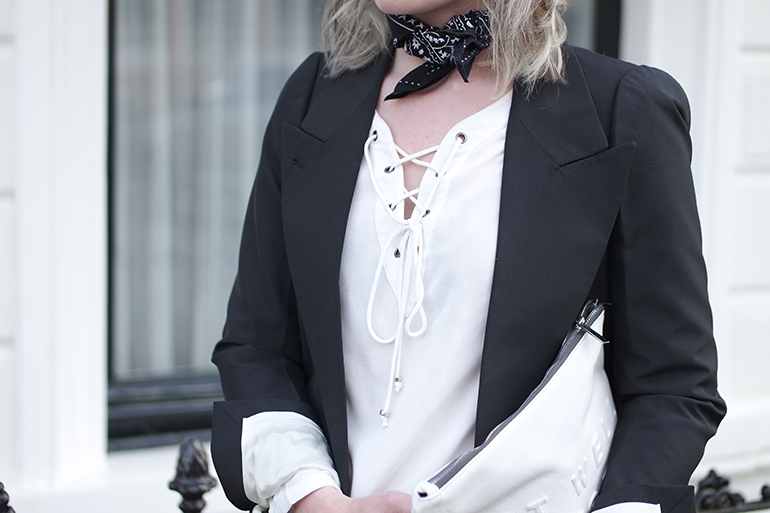 RED REIDING HOOD: Fashion blogger wearing paisley neckerchief scarf outfit details lace up shirt