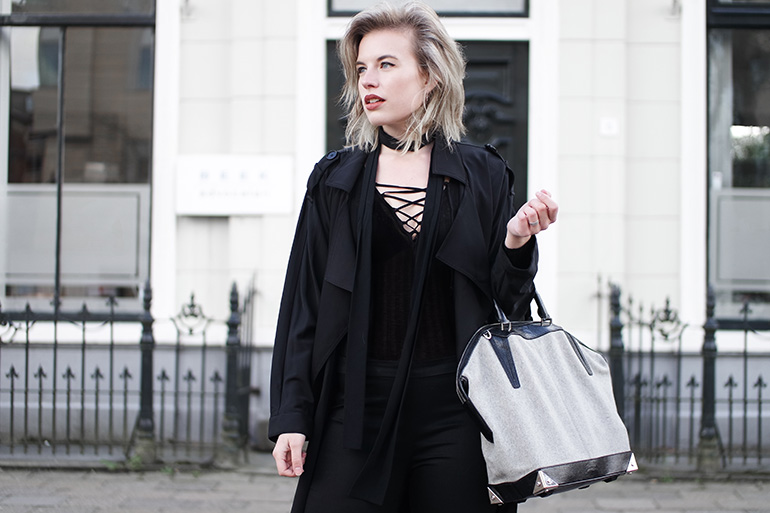 RED REIDING HOOD: Fashion blogger wearing Alexander Wang Emile Tote bag outfit details H&M lace up body suit skinny scarf asos