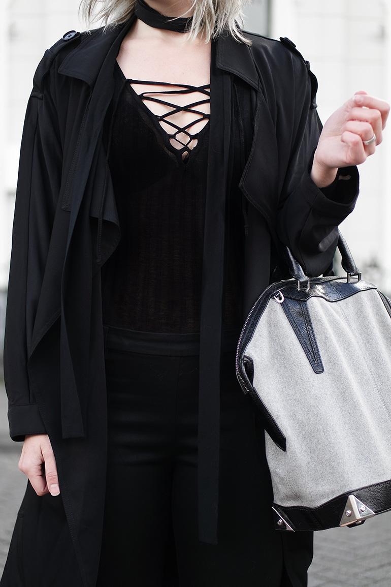 RED REIDING HOOD: Fashion blogger wearing lace up bodysuit H&M outfit details mango black trench coat slacks alexander wang bag