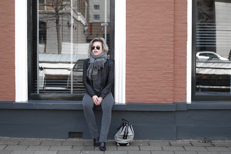 RED REIDING HOOD: Fashion blogger wearing grey jersey flares suit pants outfit acne canada wool scarf designer bag