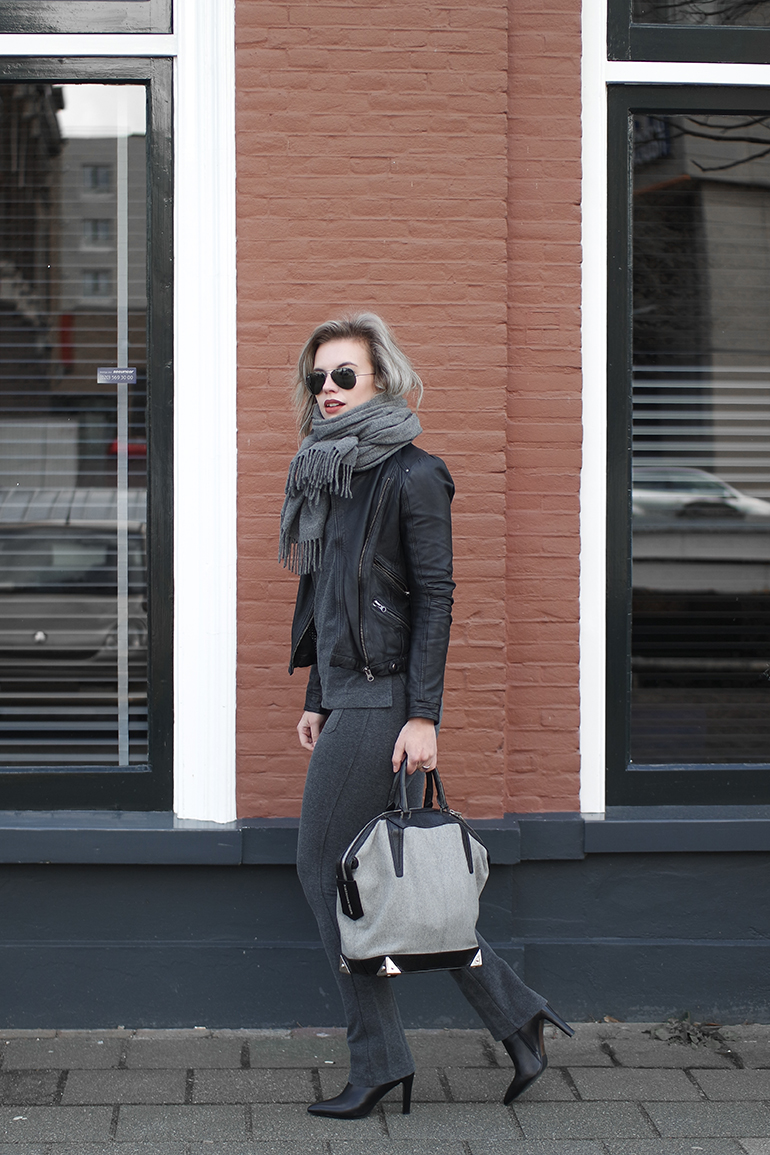RED REIDING HOOD: Fashion blogger wearing H&M grey jersey co-ord suit outfit leather jacket zara