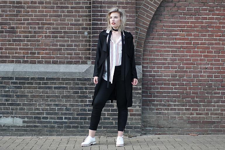 RED REIDING HOOD: Fashion blogger wearing black trench coat slacks outfit striped shirt