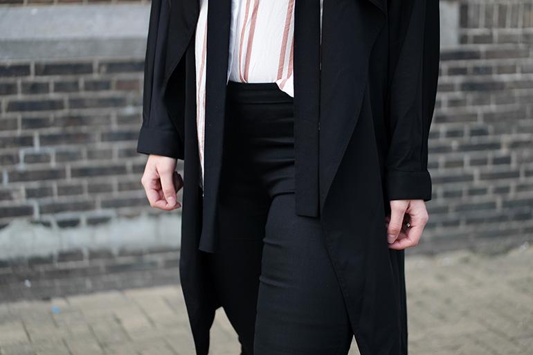 RED REIDING HOOD: Fashion blogger wearing black trench coat slacks striped shirt outfit details