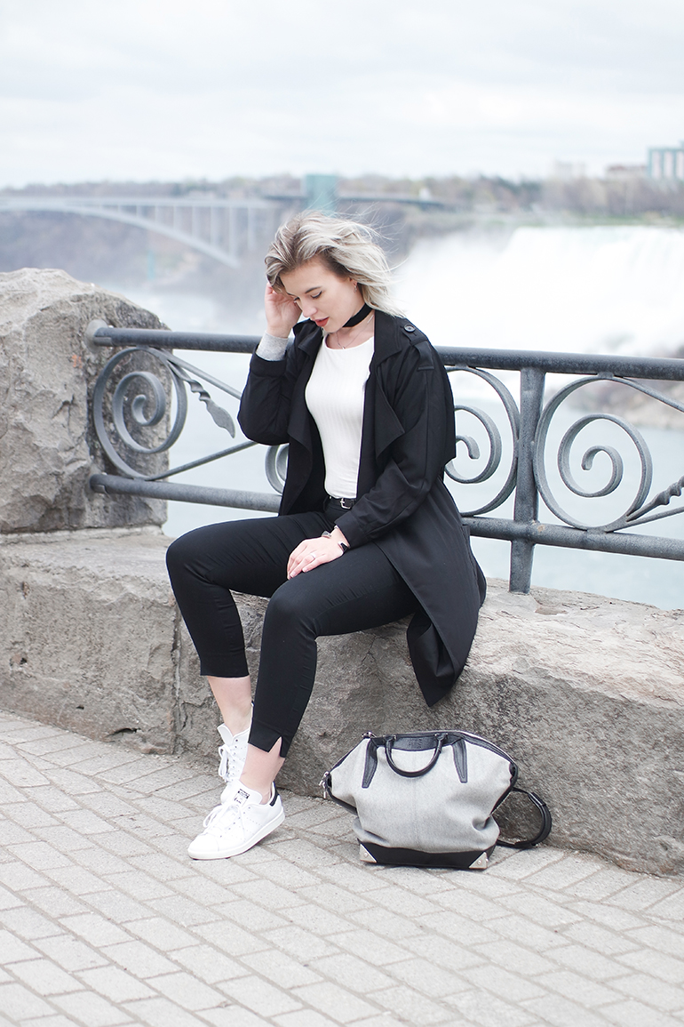 RED REIDING HOOD: Fashion blogger wearing Alexander Wang Emile Tote Bag outfit black trench coat