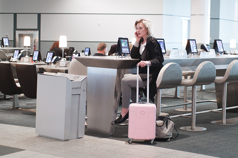 RED REIDING HOOD: Fashion blogger travel outfit pink suitcase Toronto Pearson airport