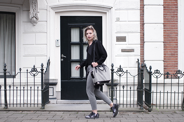 RED REIDING HOOD: Fashion blogger wearing adidas zx flux sneakers sporty chic look trench coat alexander wang bag