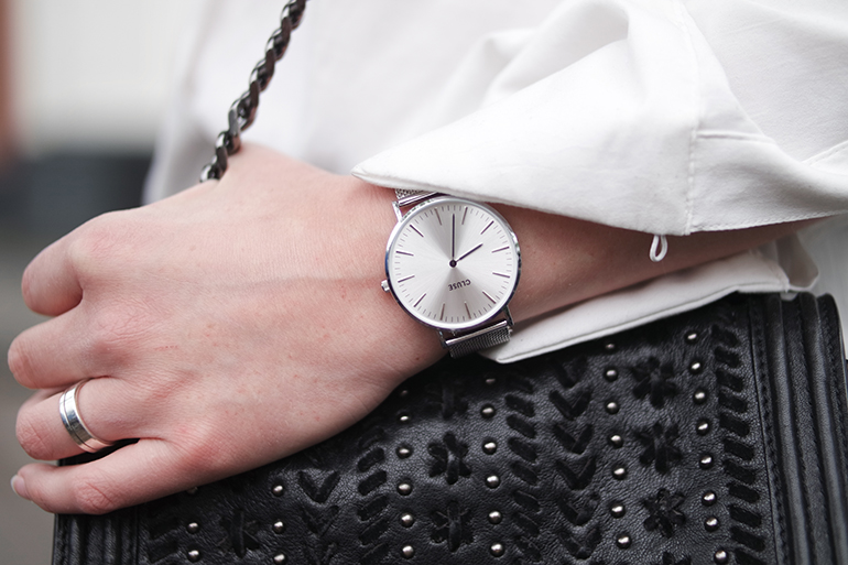 RED REIDING HOOD: Fashion blogger wearing Cluse 'la bohème' watch silver