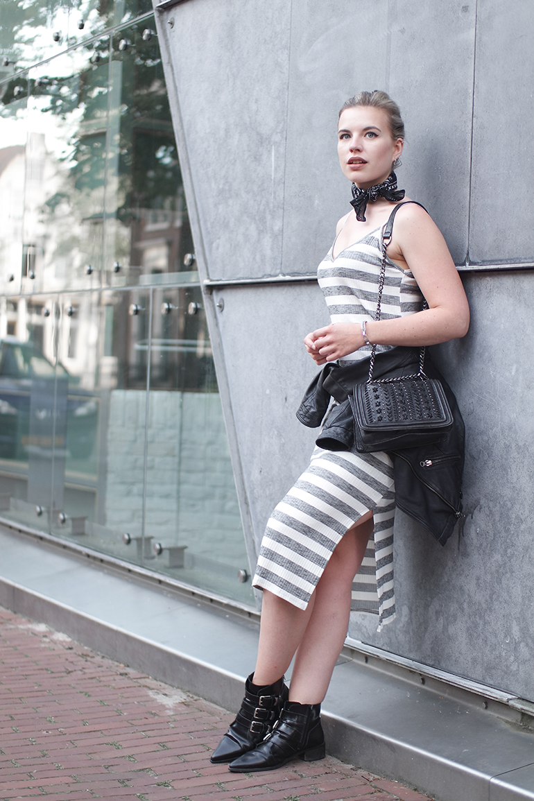 RED REIDING HOOD: Striped midi dress outfit leather jacket tied around the waist outfit