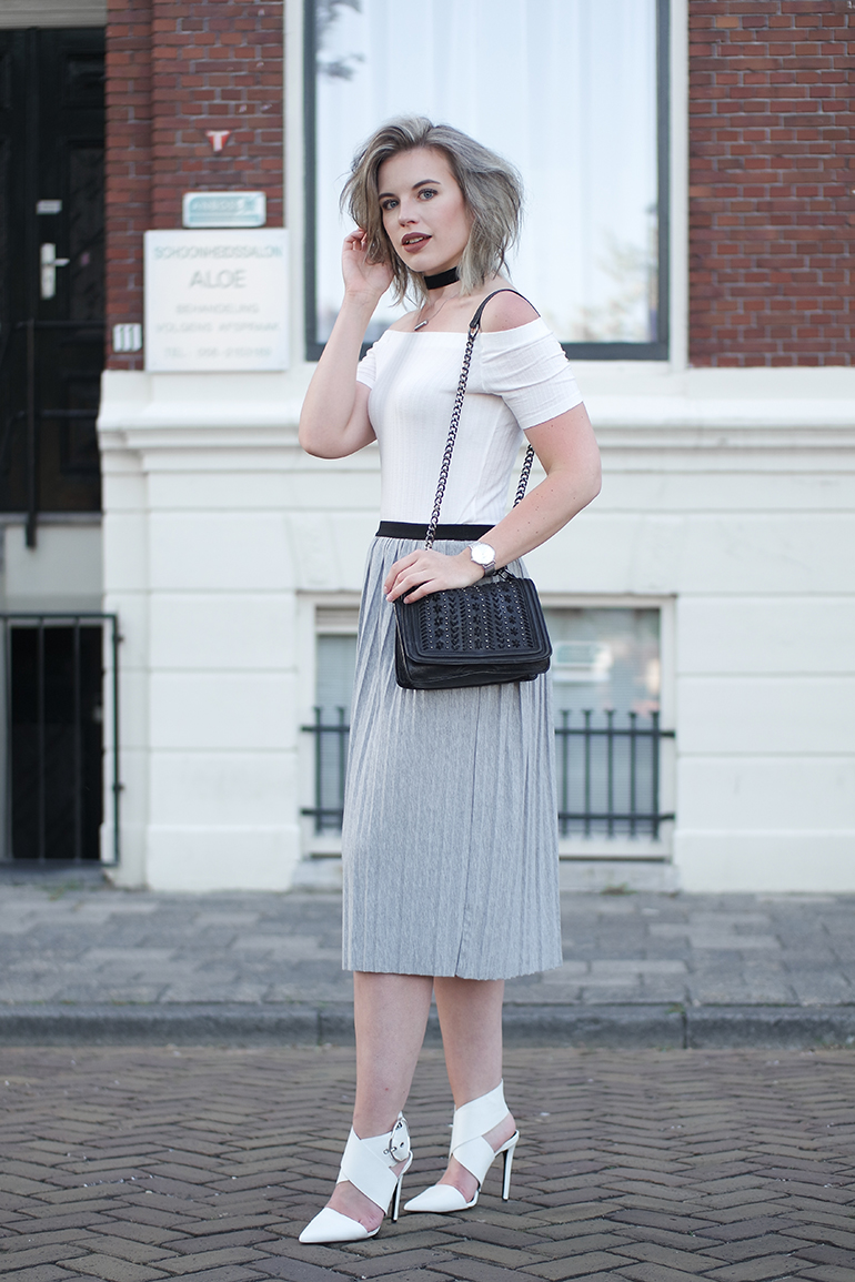 RED REIDING HOOD: Fashion blogger grey pleated skirt outfit off shoulder top