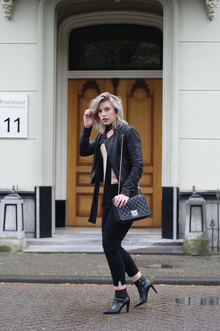 RED REIDING HOOD: Fashion blogger wearing H&M slacks long skinny scarf leather jacket