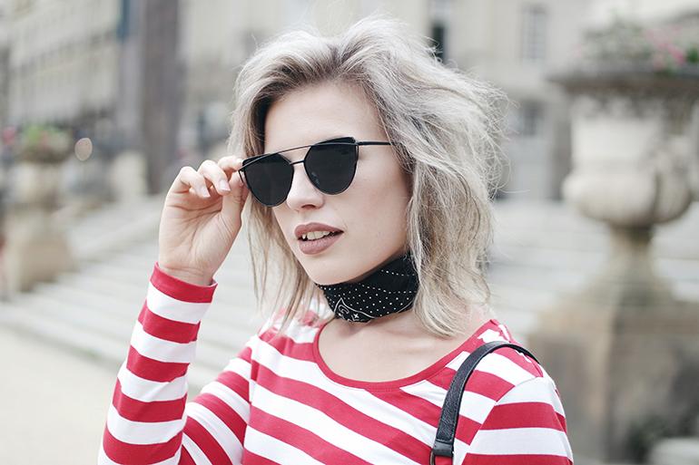 RED REIDING HOOD: Fashion blogger wearing double bridge sunglasses bandana choker neckerchief outfit striped top
