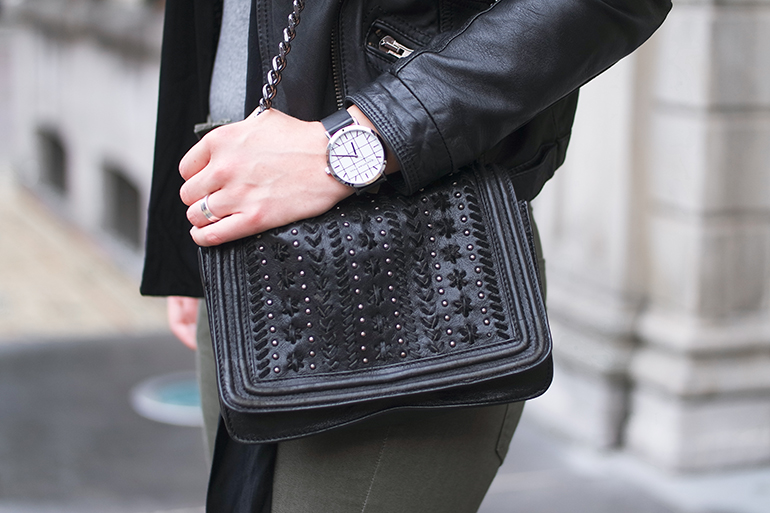 RED REIDING HOOD: Fashion blogger wearing Christian Paul Watch grid check elwood outfit details zara chain bag