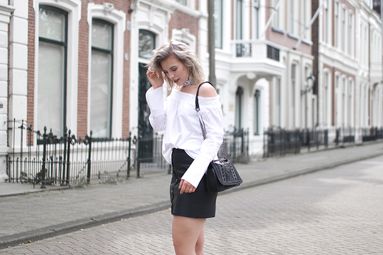 RED REIDING HOOD: Fashion blogger wearing off-shoulder top H&M flared sleeves shirt faux leather skirt outfit