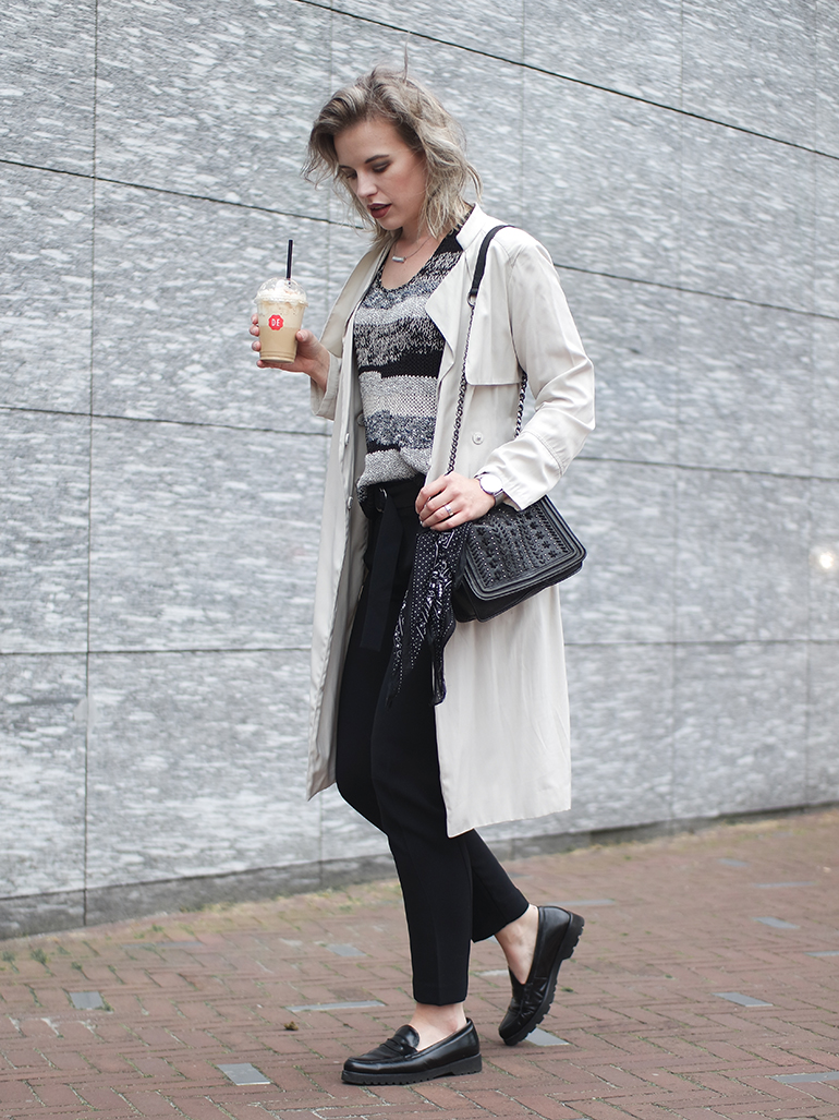 RED REIDING HOOD: Fashion blogger wearing H&M cream trench coat outfit d-ring belt trousers mango