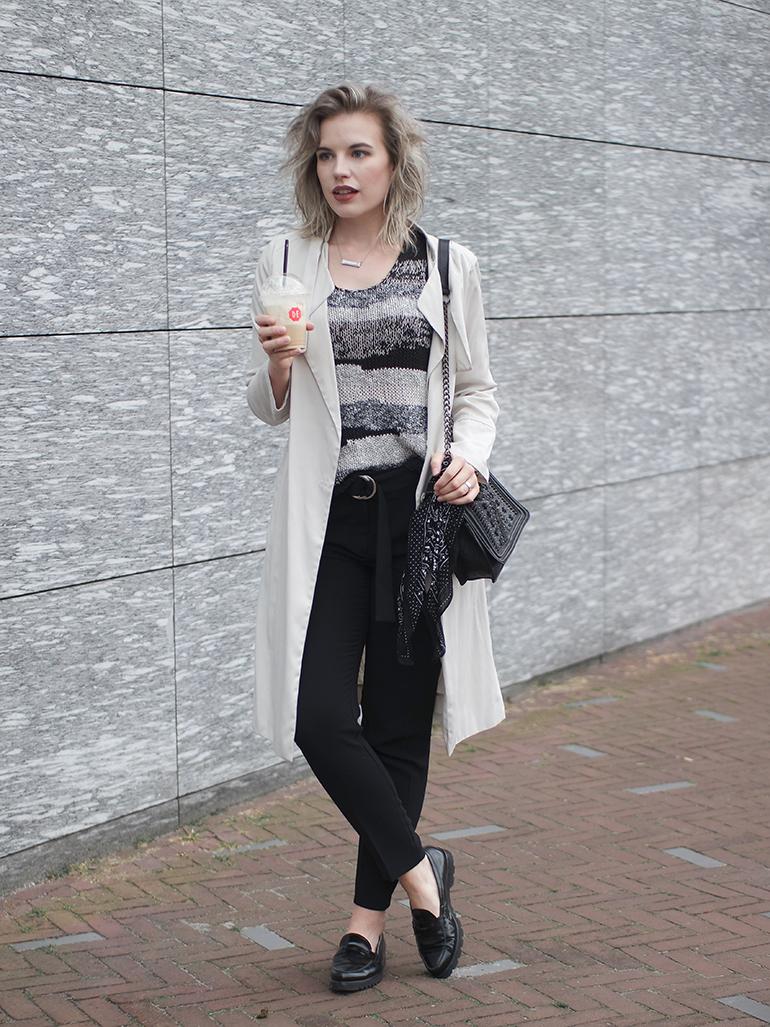 RED REIDING HOOD: Fashion blogger wearing cream trench coat outfit bandana bag