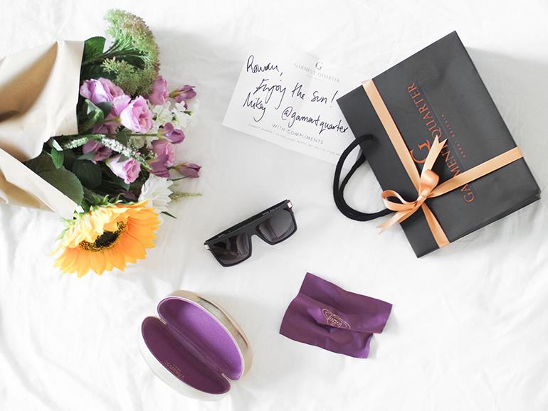RED REIDING HOOD: Garment Quarter Vivienne Westwood geometric sunglasses flatlay designer sunnies