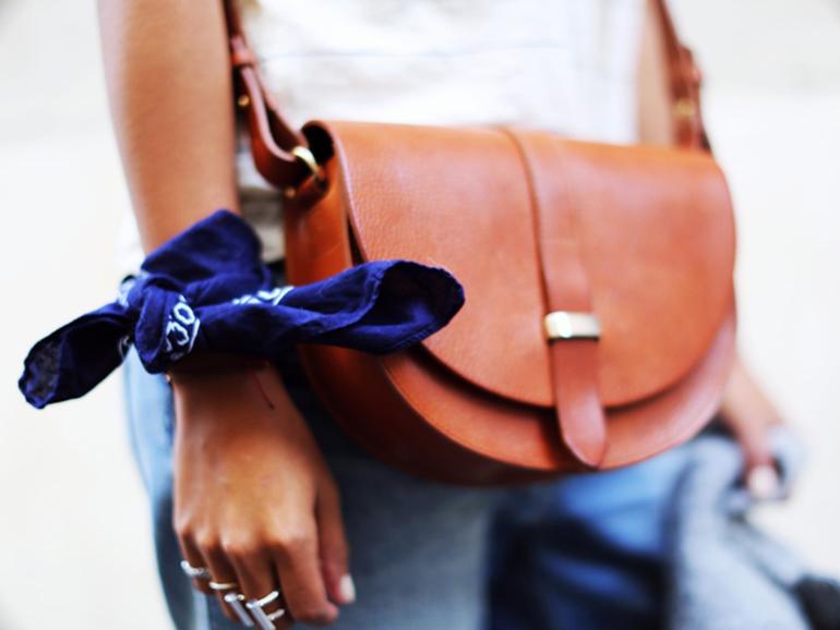 RED REIDING HOOD: Fashion blogger wearing blue bandana bracelet sincerely jules