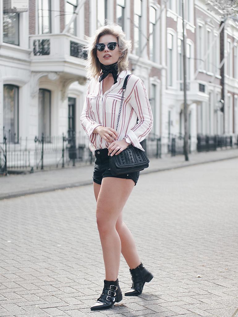 RED REIDING HOOD: Fashion blogger wearing striped shirt black one teaspoon shorts noisy may