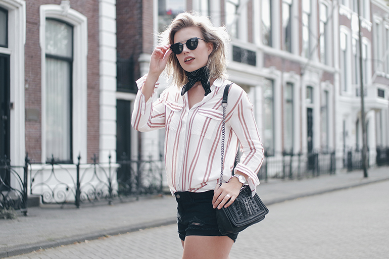 RED REIDING HOOD: Fashion blogger wearing striped shirt bandana neckerchief outfit one teaspoon shorts