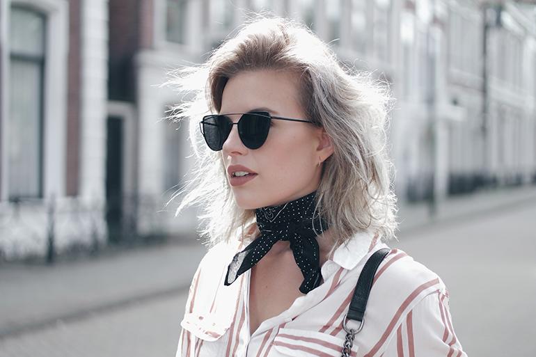 RED REIDING HOOD: Fashion blogger wearing double bridge sunglasses outfit details bandana neckerchief