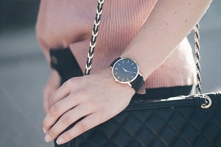 RED REIDING HOOD: Fashion blogger wearing love moschino quilted bag outfit details the fifth broadway watch