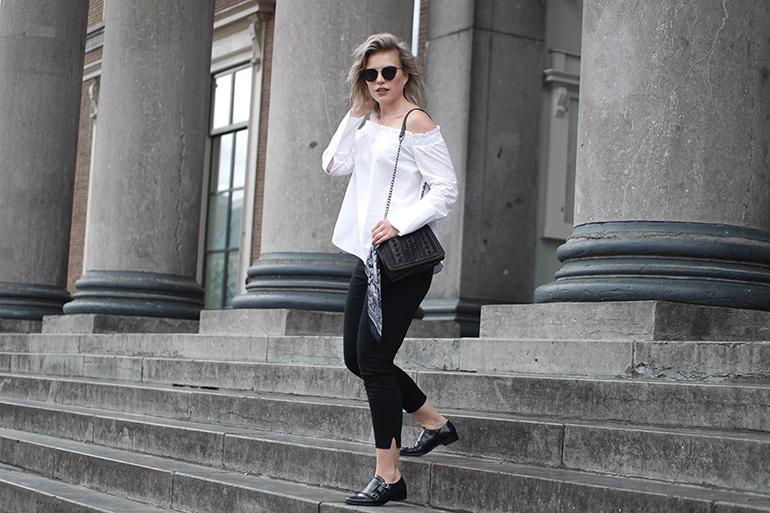 RED REIDING HOOD: Fashion blogger wearing white off shoulder shirt outfit H&M slacks
