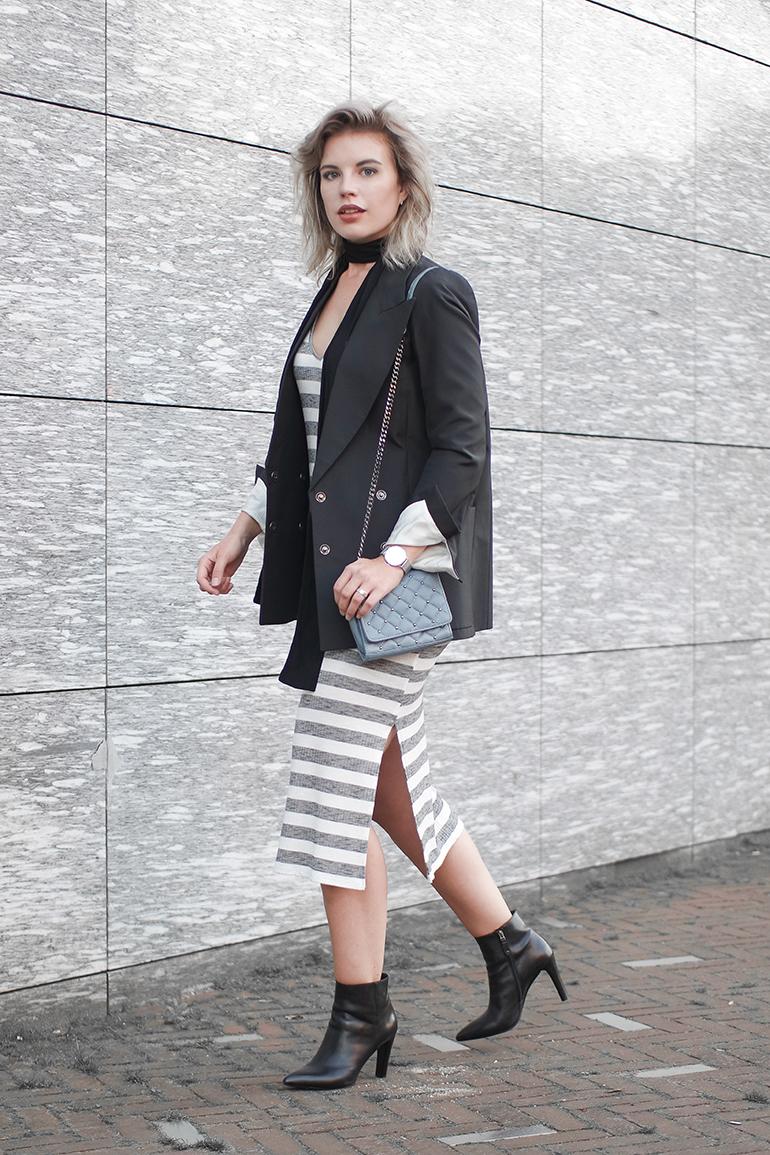 RED REIDING HOOD: Fashion blogger wearing striped maxi dress bershka outfit maison martin margiela for H&M blazer
