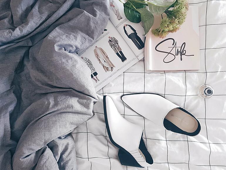 RED REIDING HOOD: Fashion blogger wearing western style white mules Warehouse Asos