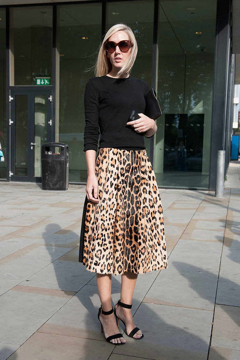 RED REIDING HOOD: Fashion blogger wearing leopard print skirt fashion week