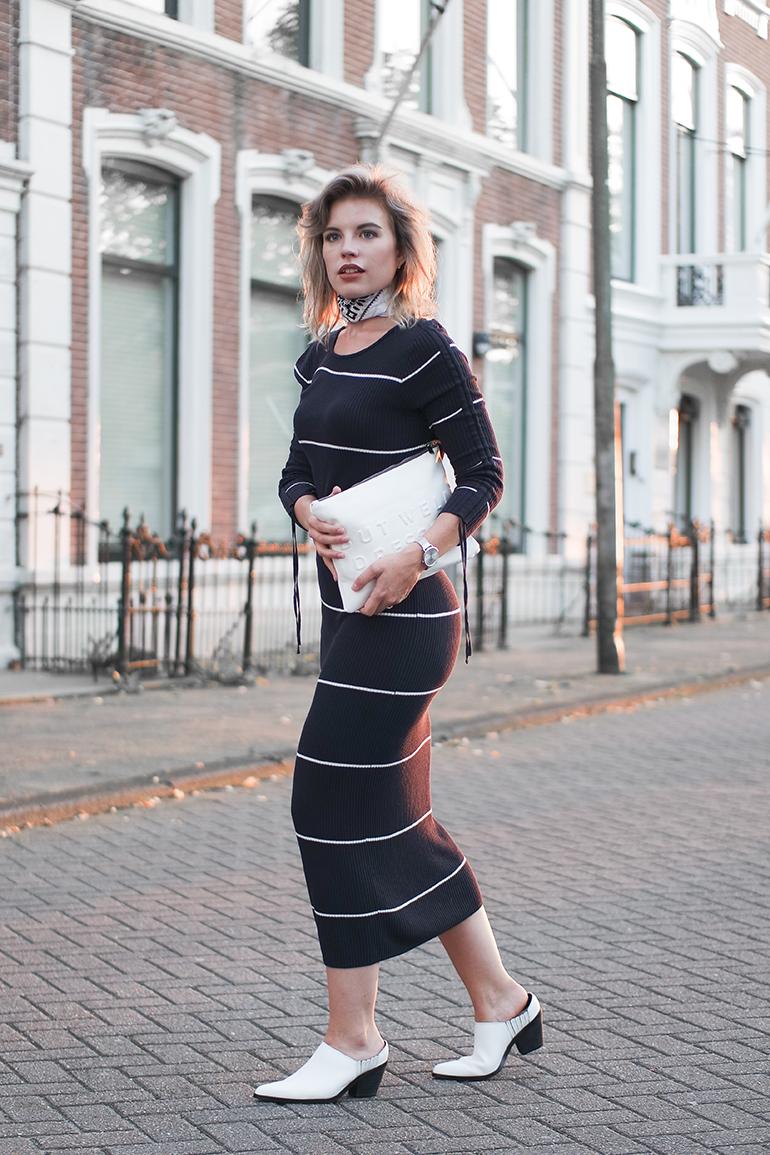 RED REIDING HOOD: Fashion blogger wearing rib knit midi dress stripe Mango bandana warehouse mules outfit