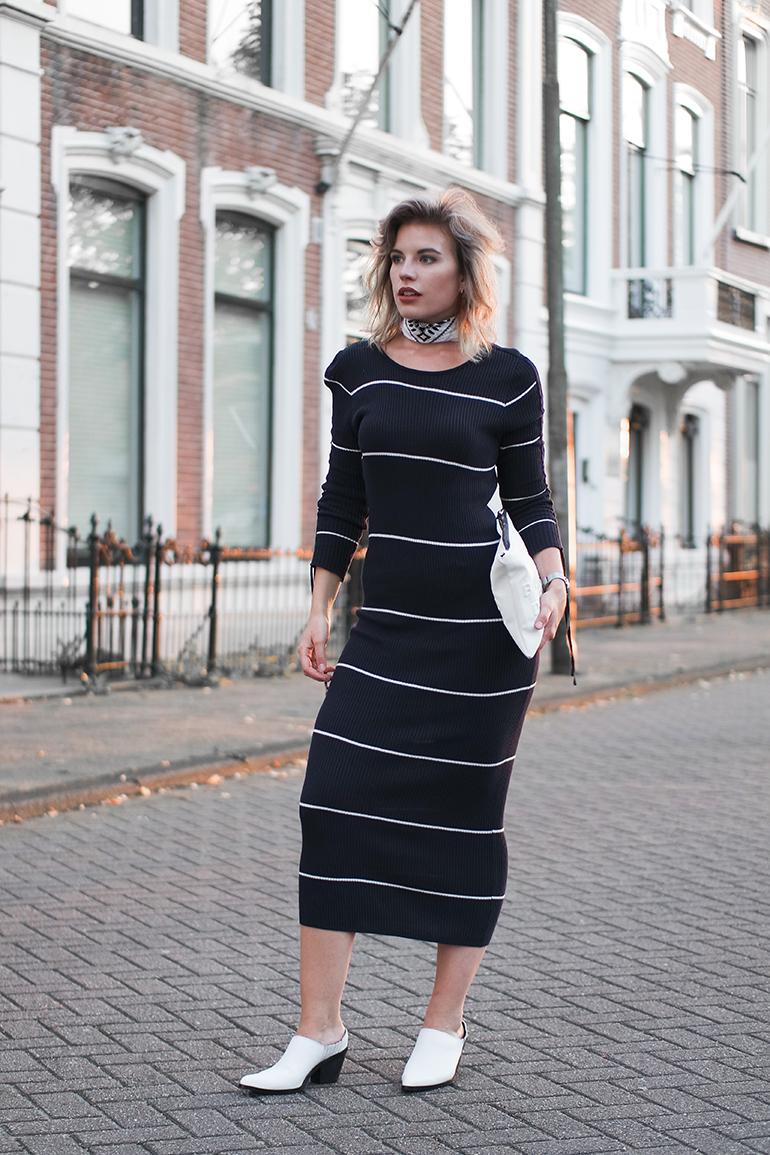 RED REIDING HOOD: Fashion blogger wearing stripe midi dress Mango outfit bandana white clutch mules